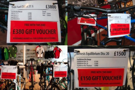 Free Gift Vouchers With Bikes